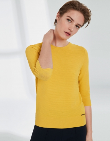 Yellow V-neck sweater
