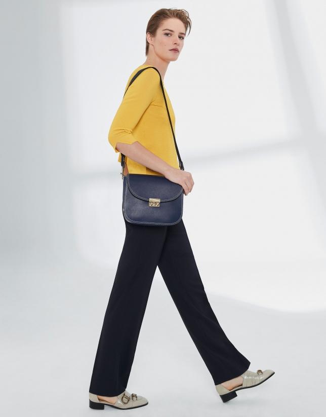Yellow V-neck sweater