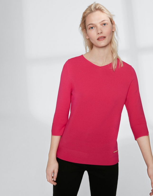 Jersey escote V rosa