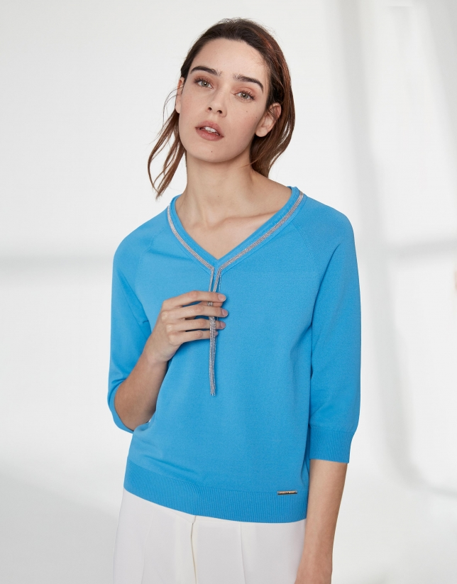 Ultramarine blue sweater with V-neck
