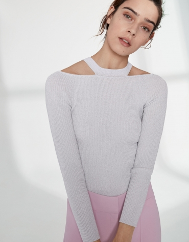 Silver lurex sweater with double neckline