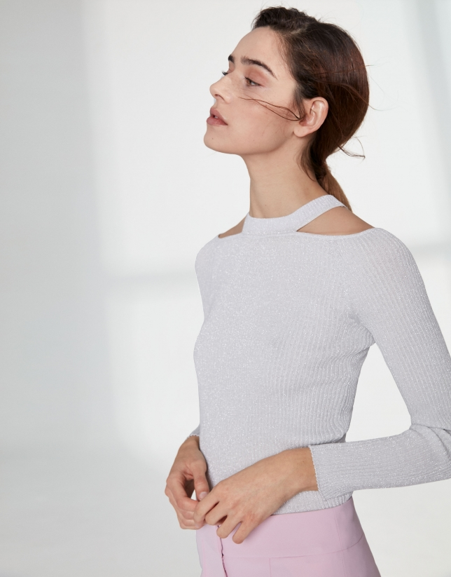 Silver lurex sweater with double neckline