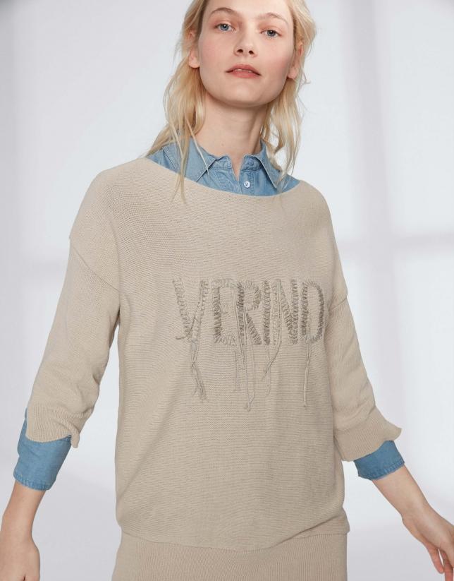Pull couleur noisette brodé Verino