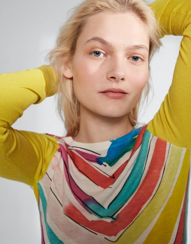 Multicolor herringbone, long sleeve sweater