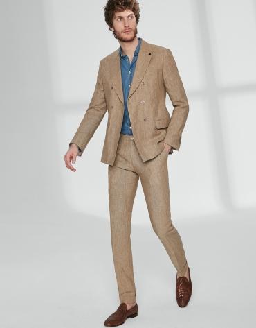 Pantalon chino brun à pince en lin