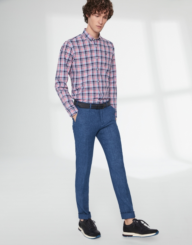 Blue linen chinos with dart