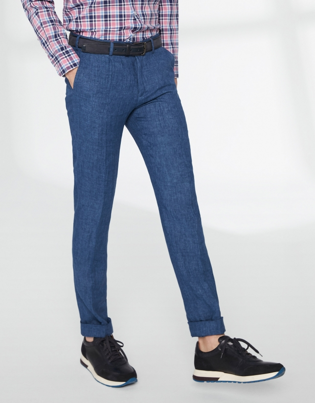 Pantalon chino bleu à pince en lin
