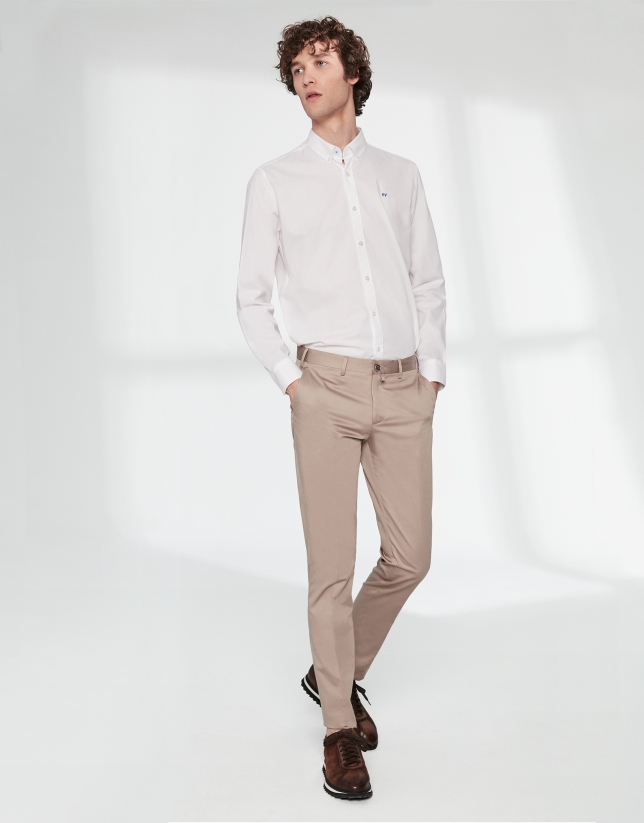 Camel cotton chino pants