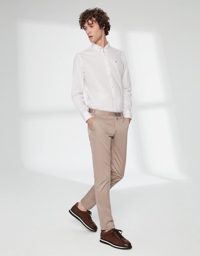 Camel cotton chino pants