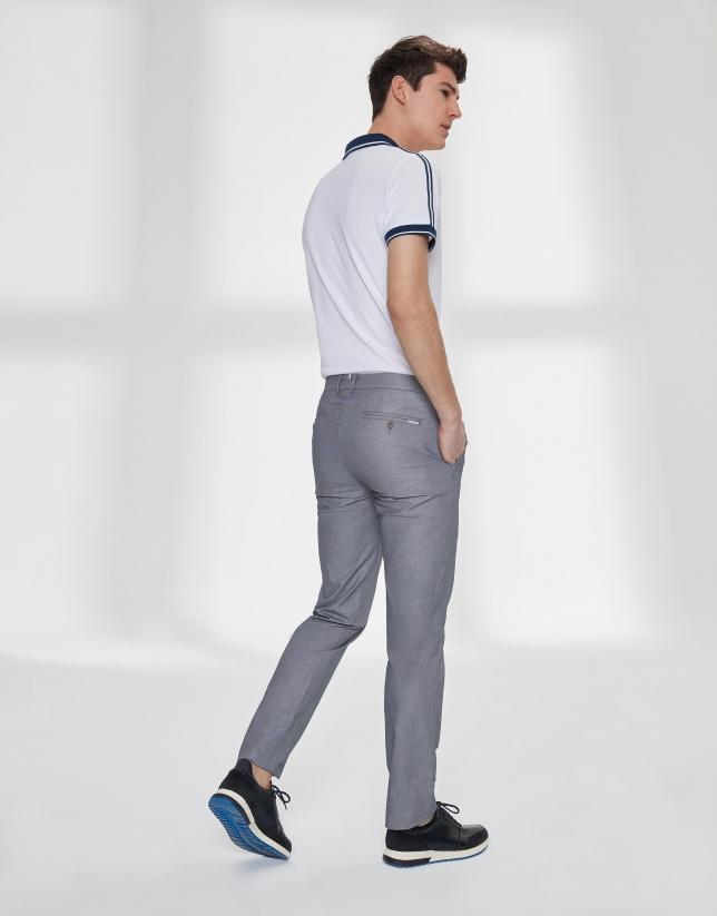 Pantalon chino œil de perdrix bleu