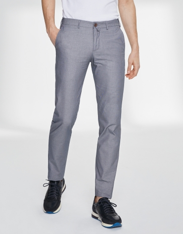 Blue bird's eye weave chino pants