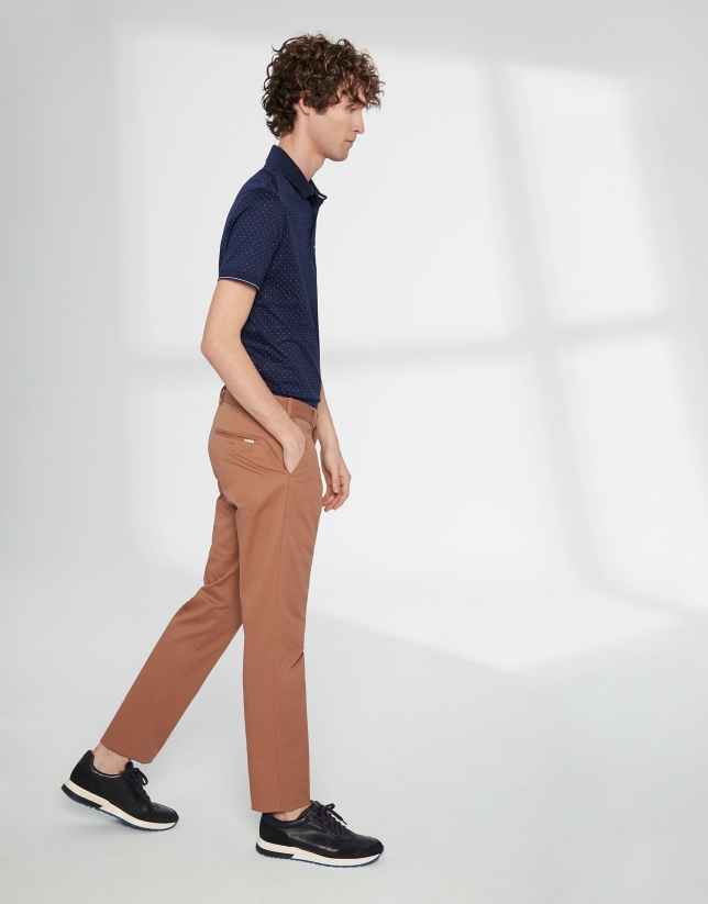 Camel basic cotton chino pants