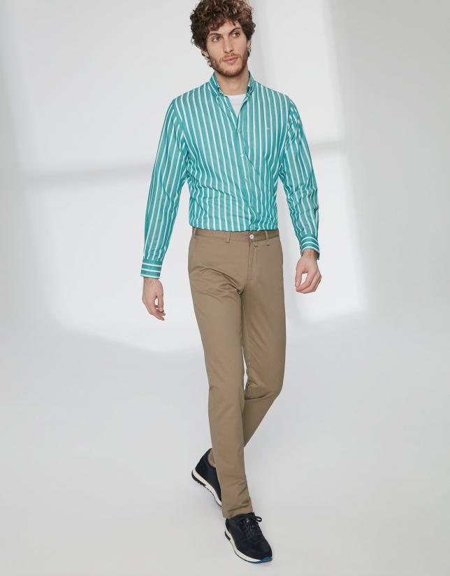 Pantalon chino basique en coton marron
