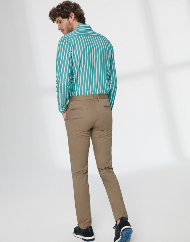 Pantalon chino basique en coton marron
