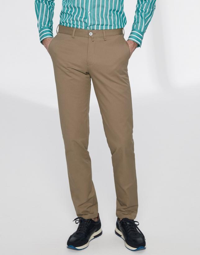 Brown basic cotton chino pants