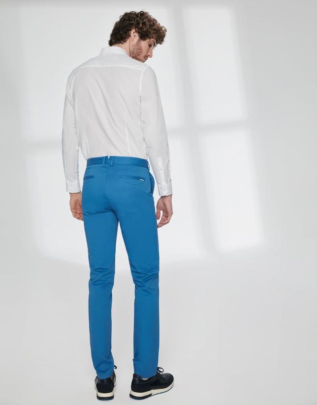 Pantalon chino basique en coton bleu roi