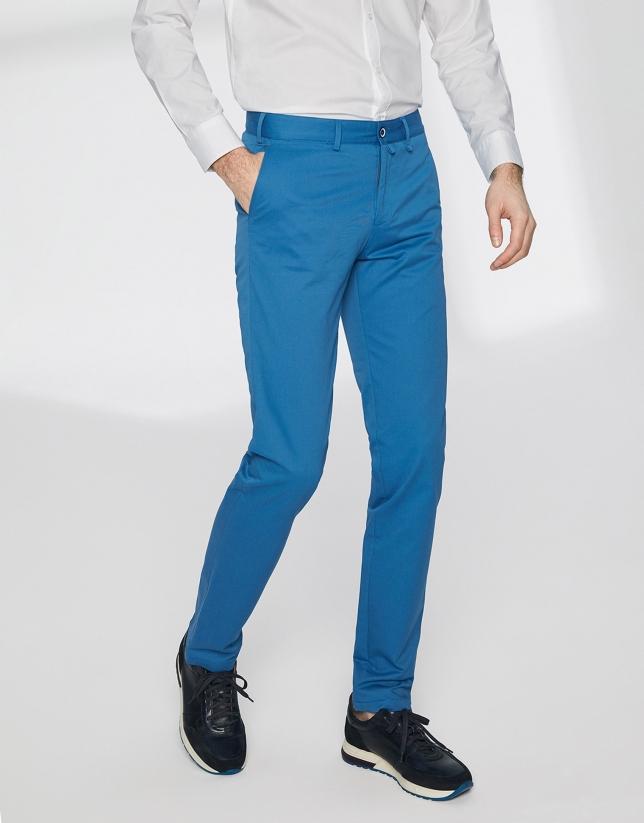 Deep blue basic cotton chino pants