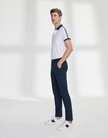 Pantalon chino basique en coton bleu marine
