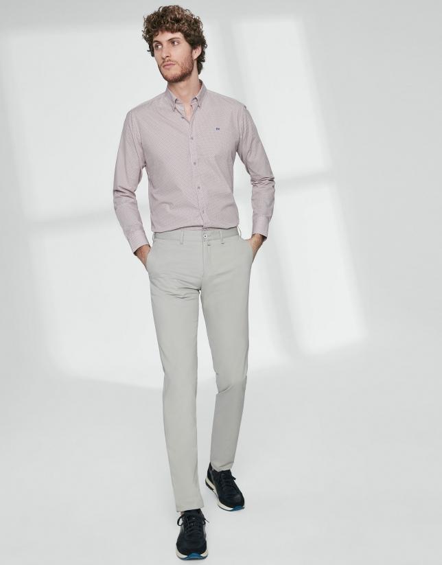 Pantalón chino básico algodón gris claro