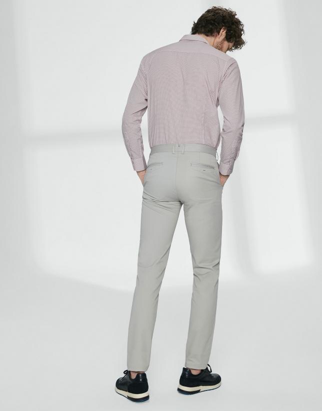 Pantalon chino basique en coton gris claire