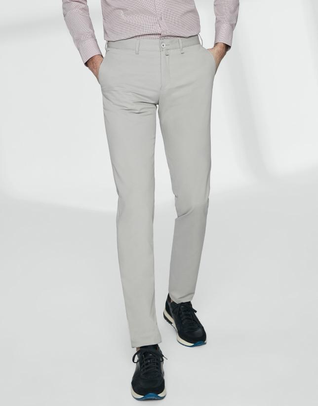 Light grey basic cotton chino pants
