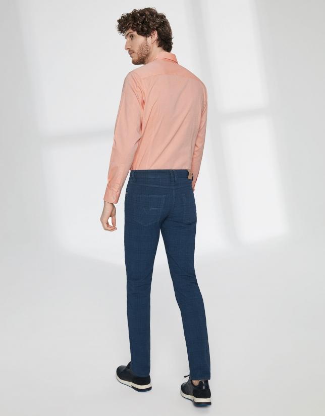 Pantalón cinco bolsillos algodón azul cuadros