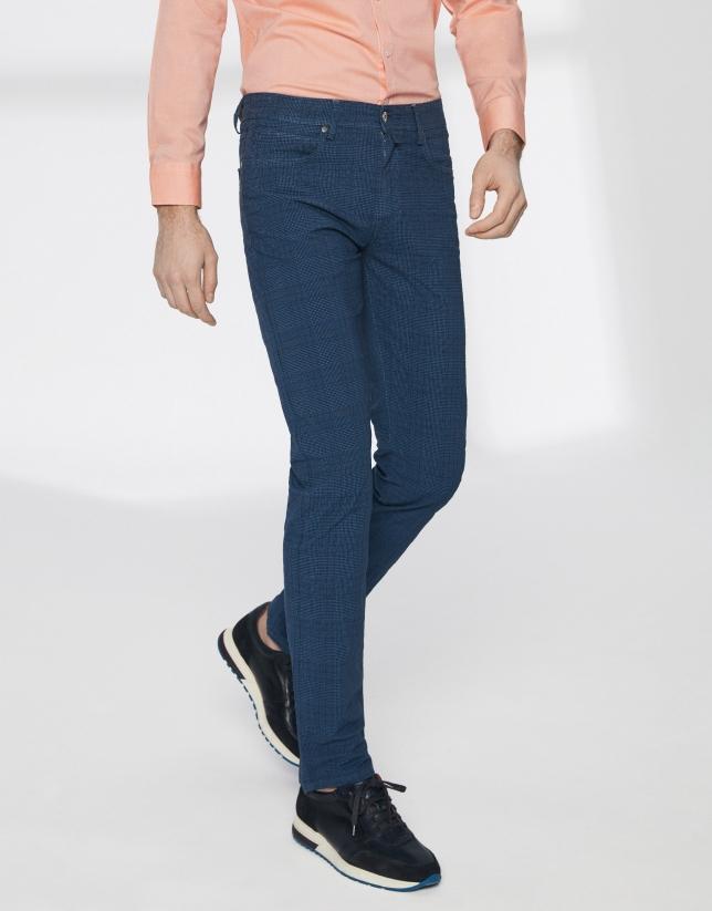 Pantalon à carreaux en coton bleu à cinq poches