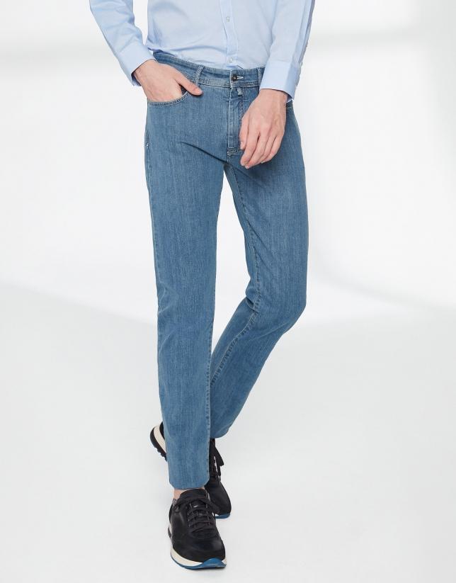 Bleached denim jeans