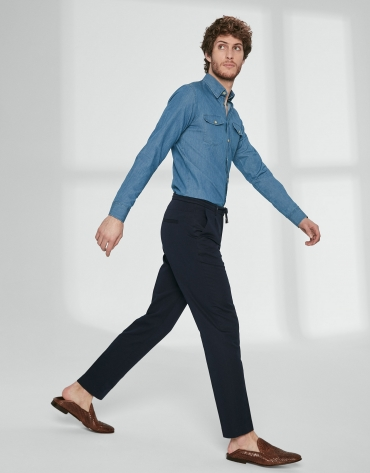 Pantalon bleu marine à cordon