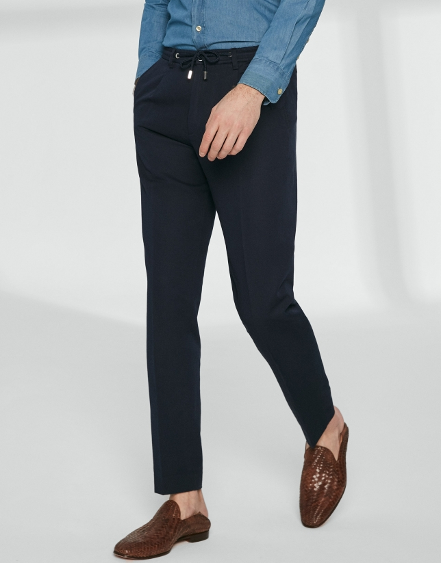 Navy blue pants with ties