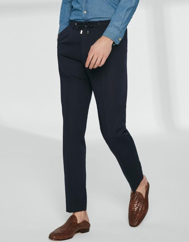 Pantalón cordones marino