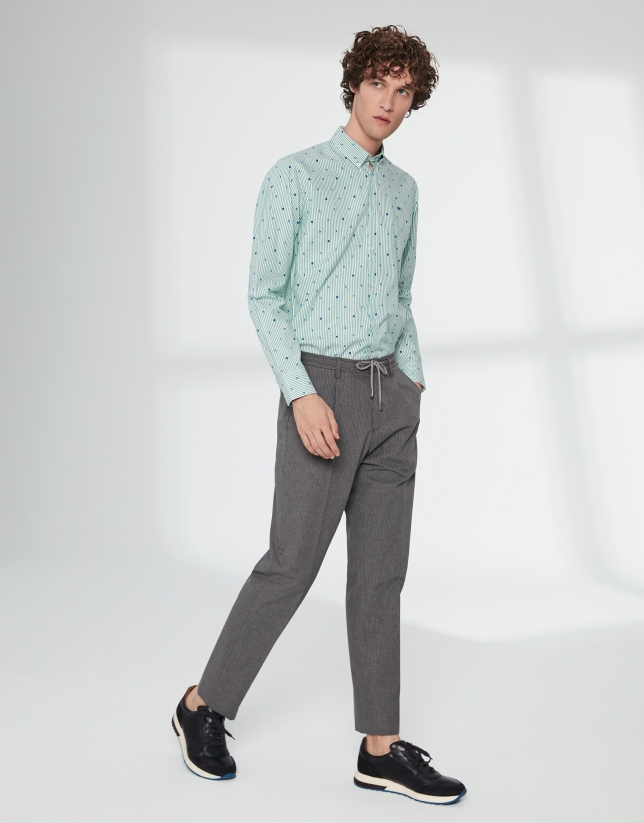 Gray striped pants with ties