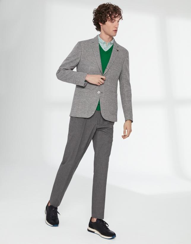 Pantalon à cordon gris à rayures