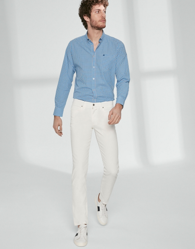 Pantalon cinq poches sergé écru