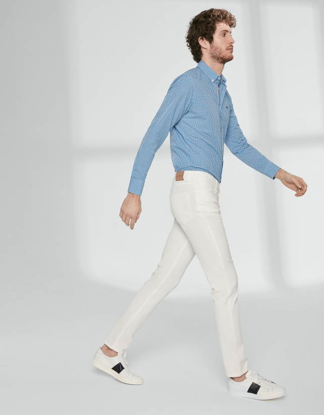 Beige twill pants with five pockets