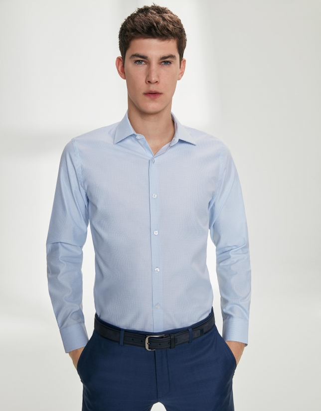 Chemise de costume à micro dessin en bleu ciel