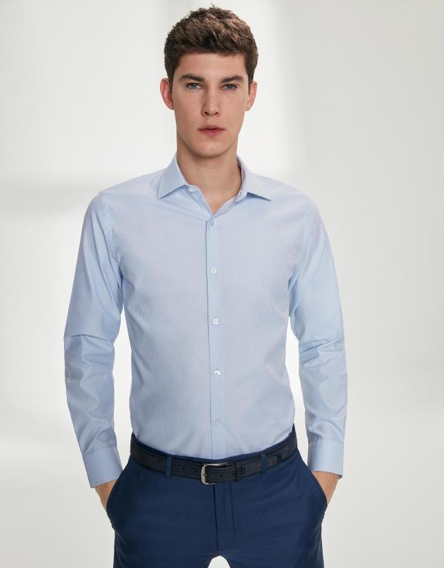 Light blue micro-print dressy shirt - Man  a605c8961