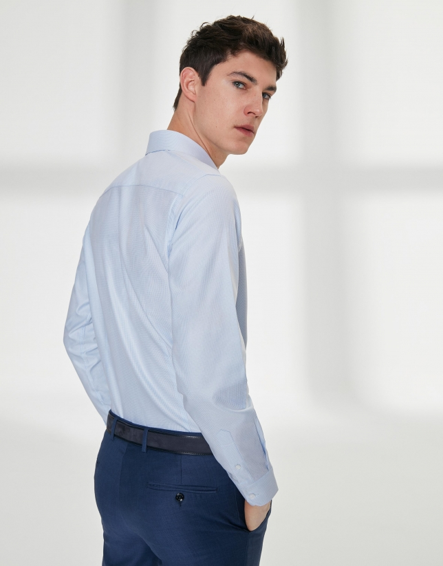 Light blue micro-print dressy shirt