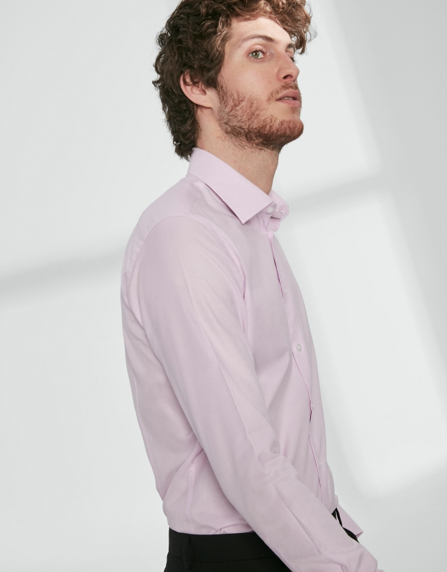 Light pink fake plain dress shirt