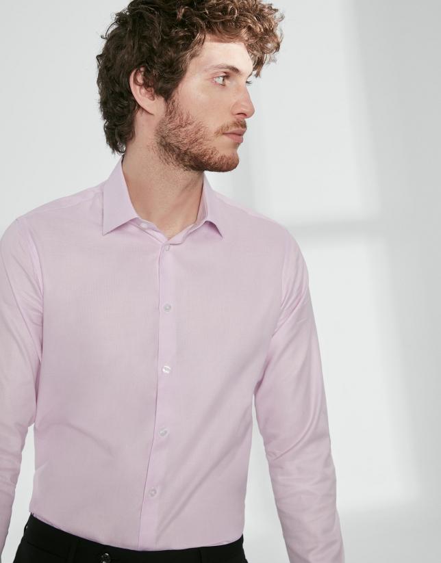 Camisa vestir falso liso rosa claro