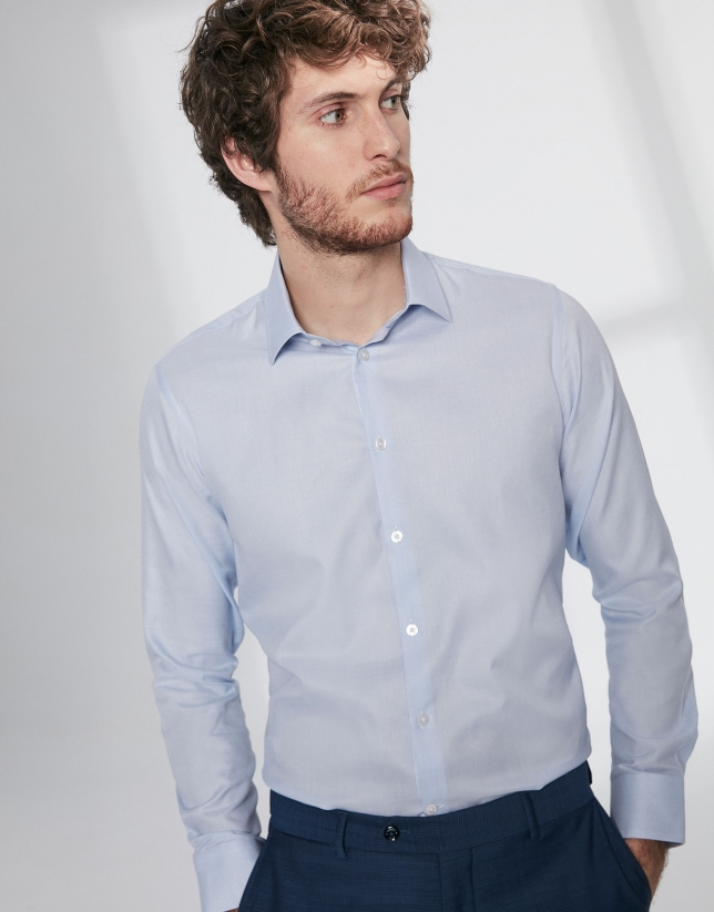 Light blue fake plain dress shirt