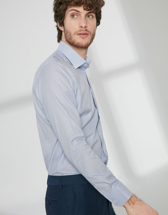 Light blue fake plain dress shirt