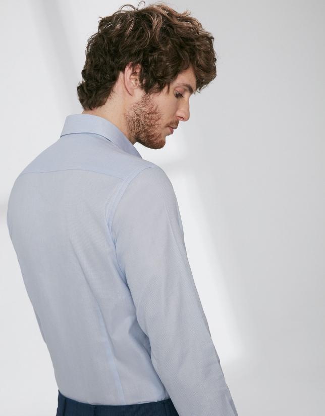 Camisa vestir falso liso celeste