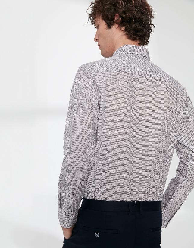 Brown and navy blue geometric print sport shirt