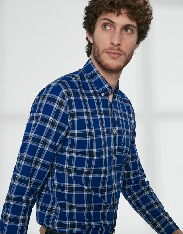 Chemise décontractée à carreaux en bleu/blanc