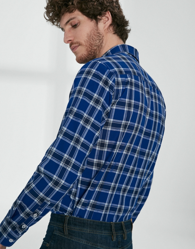 Blue and white checked sport shirt