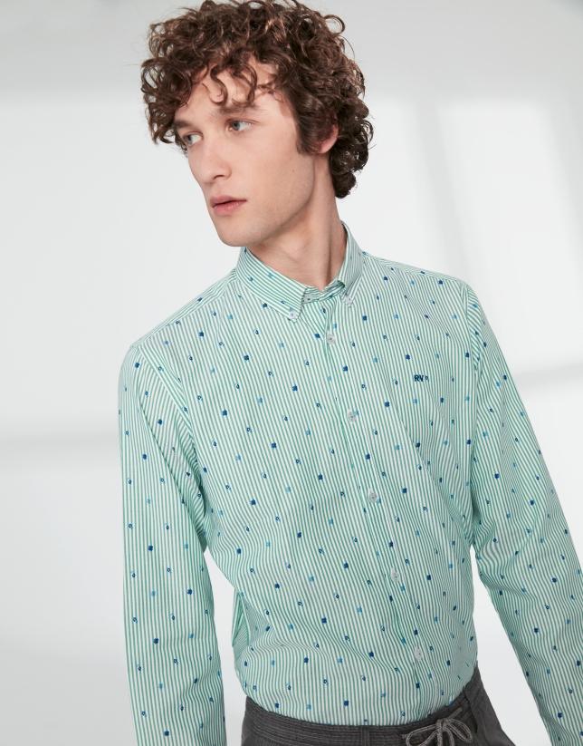 Camisa sport rayas verdes y flores azules