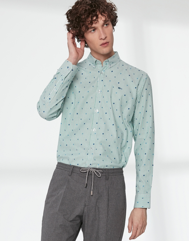 Blue floral sport shirt with green stripes
