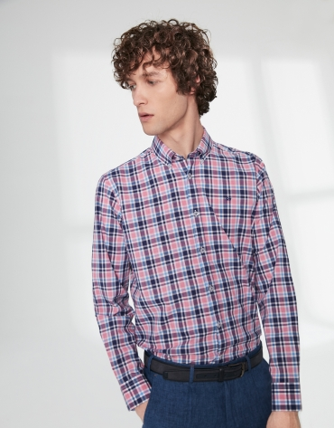 Camisa sport cuadros tonos azules/rosa
