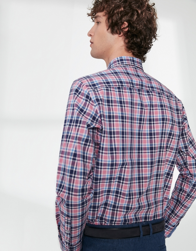 Pink and blue checked sport shirt
